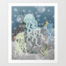 Floatin' Jellyfish Art Print