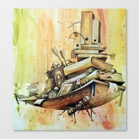 school Canvas Prints featuring school by Andreas Derebucha