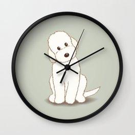 Cream Labradoodle Dog Illustration Wall Clock
