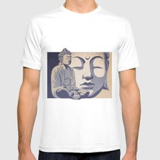 Zen Buddha: Awakened and Enlightened One MEDIUM White Mens Fitted Tee