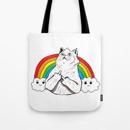 Fluff Off Rainbow Cat Tote Bag