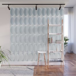 Leaves in the mist - a pattern in ice gray Wall Mural