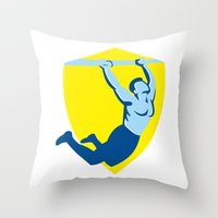 crossfit Throw Pillows featuring Crossfit Pull Up Bar Shield Retro by patrimonio