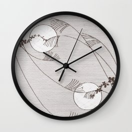 Two Moons Stencil,19th century Japan Wall Clock
