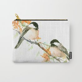 Chickadees and Orange Flowers Carry-All Pouch