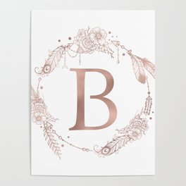 Letter B Rose Gold Pink Initial Monogram Poster