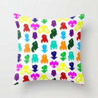 sailormoon Throw Pillows featuring Sailormoon Senshi pattern by ApocalypseToo Studios