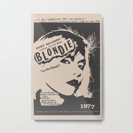 Punk Poster - Blondie Poster 1977, Debbie Harry, New York, Punk, Mancave gift Metal Print
