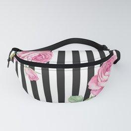 Black white blush pink watercolor floral stripes Fanny Pack