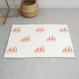 Coral Sailboat Pattern Rug