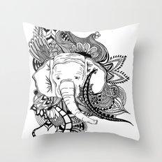 Inking Elephant Throw Pillow