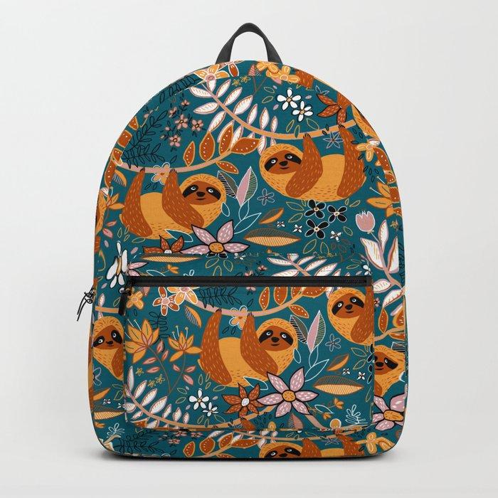 Happy Boho Sloth Floral Backpack