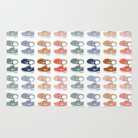 sneakers Area & Throw Rugs featuring Colored Nike sneakers illustration by Rocio P. Vigne