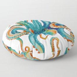 Octopus Teal Watercolor Ink Floor Pillow