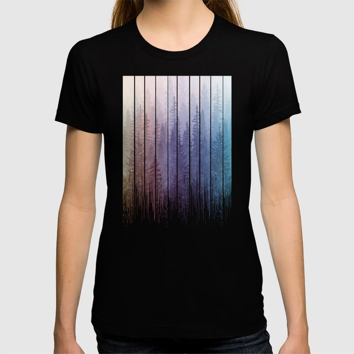 Grunge Dripping Rainbow Misty Forest T-shirt