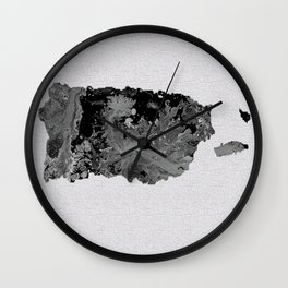 Black and White Art Puerto Rico Map Wall Clock