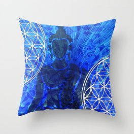 Blue Buddha Mandala Collage Mosaic Throw Pillow