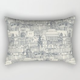 Edinburgh toile indigo pearl Rectangular Pillow
