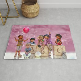 School Kids With Balloon Rug