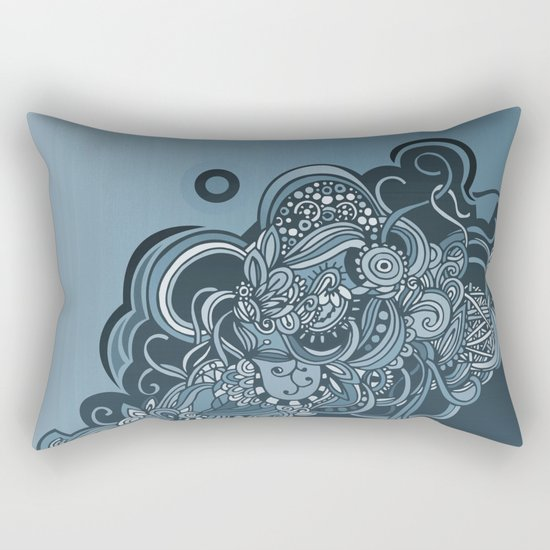 Detailed diagonal tangle, blue Rectangular Pillow