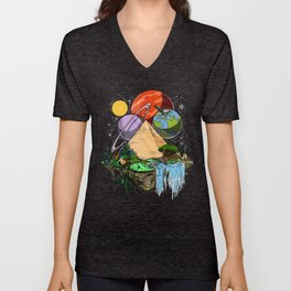 Space Aliens Egyptian Pyramids Conspiracy Unisex V-Neck