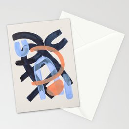 Midcentury Modern Minimalist Funky Cool Tribal Pattern Paynes Grey Pastel Blue Tan Shapes by Ejaaz Haniff Stationery Cards