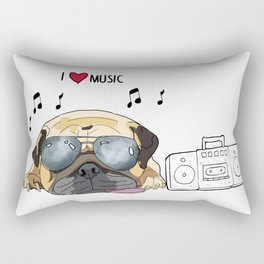 I love music-rock pug Rectangular Pillow