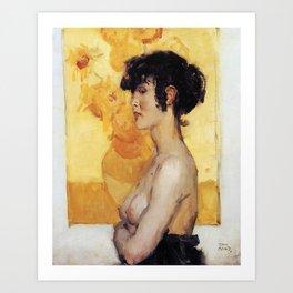 Isaac Israels - Woman before ''Sunflowers'' by van Gogh Art Print