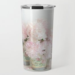 Shabby Chic Dreamy Pastel Peonies Floral Home Decor Travel Mug