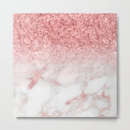 Rose-gold faux glitter and marble ombre Metal Print