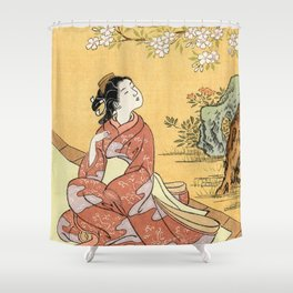 Woman & Cherry Blossoms Shower Curtain