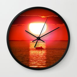 Sailboat Holds the Sun Wall Clock