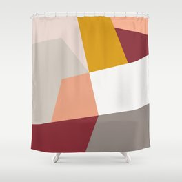 Abstract Geometric 27 Red Shower Curtain