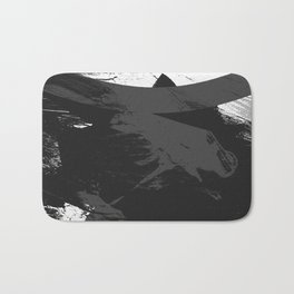 Ink Black Warrior Abstract Bath Mat
