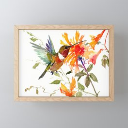 Hummingbird and Orange Floral Design, tropical Hawaiian Colors Framed Mini Art Print
