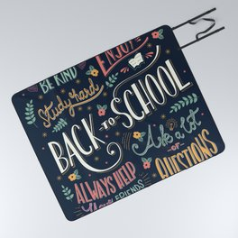 Back to school colorful typography drawing on blackboard with motivational messages, hand lettering Picnic Blanket