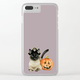 Halloween Siamese Cat with Jack O' Lantern Clear iPhone Case