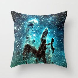 Teal Turquoise Blue Pillars of Creation Throw Pillow