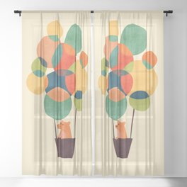 Whimsical Hot Air Balloon Sheer Curtain