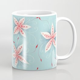 Beautiful Abstract Flowers In Red And White Coffee Mug