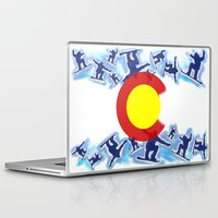 snowboard Laptop & iPad Skins featuring Colorado snowboard style flag  by Artistic Attitude