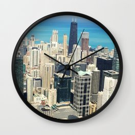 Chicago Buildings Color Photo Wall Clock