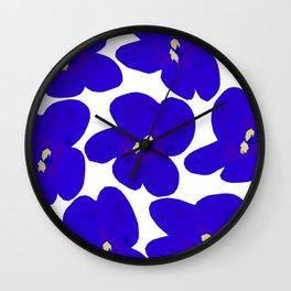 Blue Retro Flowers #decor #society6 #buyart Wall Clock
