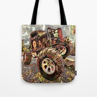 truck Tote Bags featuring mud truck by Moonlight Creations