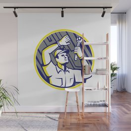 Auto Mechanic Wrench Under Chassis Car Wall Mural