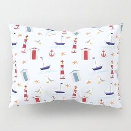 Nautical Pattern (Marine Pattern) - Blue Red White Pillow Sham