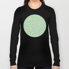 Japanese Scroll Pattern in Green & Yellow Long Sleeve T-shirt