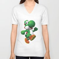 yoshi V-neck T-shirts featuring Yoshi Geometric by Sharna Myers