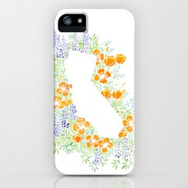 California Poppies and Lupins State Sihlouette iPhone Case
