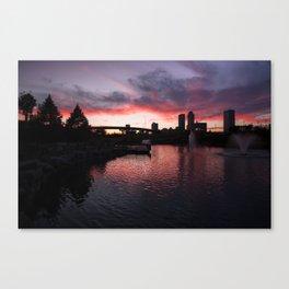 Centennial Park Sunset - Tulsa Skyline Canvas Print